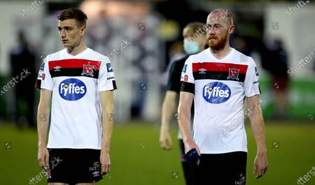 Dundalk vs St. Patrick's Athletic. Dundalk's Daniel Kelly and Chris Shields dejected after the game