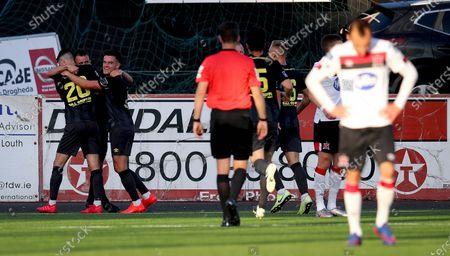 Dundalk vs St. Patrick's Athletic. St. Patrick Athletic's Robbie Benson celebrates scoring