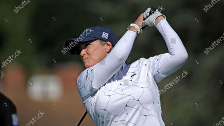 Cristie Kerr hits her drive on the ninth hole during the first round of the LPGA Drive On Championship golf tournament at Inverness Golf Club in Toledo, Ohio