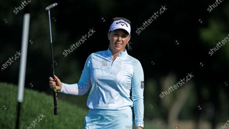 Morgan Pressel reacts to missing a birdie putt on the ninth hole during the first round of the LPGA Drive On Championship golf tournament at Inverness Golf Club in Toledo, Ohio
