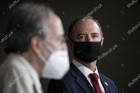 """Rep. Adam Schiff, D-Calif., Chairman of the House Intelligence Committee, right, listens as Rep. Eliot Engel, D-N.Y., Chairman of the House Committee on Foreign Affairs, speaks during a news conference on Capitol Hill, after a meeting at the White House in Washington. The House Foreign Affairs Committee has subpoenaed Secretary of State Mike Pompeo for documents he turned over to a Senate panel that is investigating Hunter Biden, the son of Democratic presidential candidate Joe Biden. Engel said Friday, July 31, he had issued the subpoena as part an investigation into Pompeo's """"apparent use of Department of State resources to advance a political smear of former Vice President Joe Biden"""