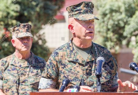 Commandant of the Marine Corps Gen. David Berger (right) and Lt. Gen Joseph Osterman (left) speak about the sinking of an amphibious assault vehicle at a press conference at Camp Pendleton on Friday