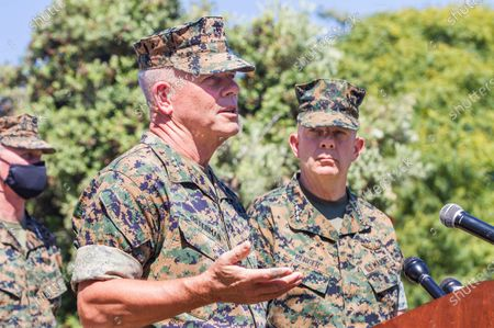 Lt. Gen Joseph Osterman (left) and Commandant of the Marine Corps Gen. David Berger (right) speak about the sinking of an amphibious assault vehicle at a press conference at Camp Pendleton on Friday