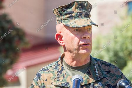 Commandant of the Marine Corps Gen. David Berger speaks about the sinking of an amphibious assault vehicle at a press conference at Camp Pendleton on Friday