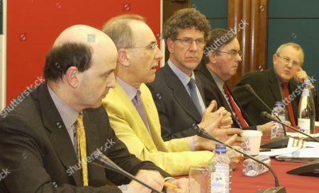 The Univerity Of Westminster Debate On The Hutton Enquiry. Panel; L-r Mark Damazer David Cox Professor Steven Barnett Michael Brunson And Will Wyatt.