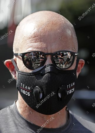 Stock Picture of Ineos team general manager Dave Brailsford prepares prior to the 1st stage of the La Route d'Occitanie La Depeche du Midi cycling race over 187km between Saint-Affrique and Cazouls-les-Beziers, France, 01 August 2020.