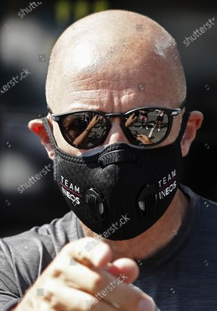 Ineos team general manager Dave Brailsford prepares prior to the 1st stage of the La Route d'Occitanie La Depeche du Midi cycling race over 187km between Saint-Affrique and Cazouls-les-Beziers, France, 01 August 2020.