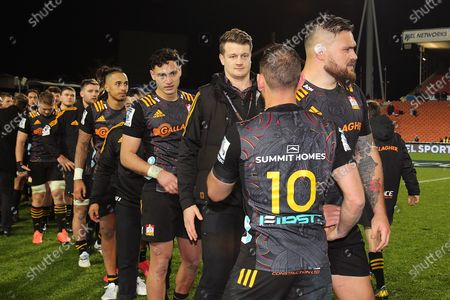 Stock Image of Chiefs vs Crusaders. Chiefs' Aaron Cruden after playing his 100th game for the Chiefs