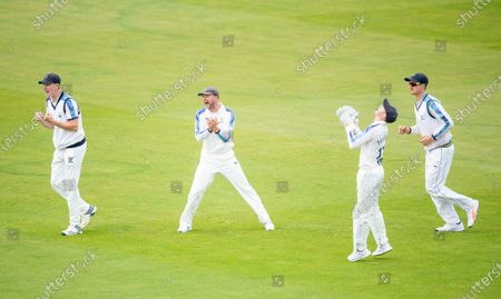 Yorkshire's Harry Brook, Adam Lyth, Jonathan Tattersall & Tom Kohler-Cadmore celebrate the wicket of Durham's Cameron Steele from the bowling of Jordan Thompson.