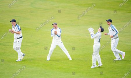 Stock Picture of Yorkshire's Harry Brook, Adam Lyth, Jonathan Tattersall & Tom Kohler-Cadmore celebrate the wicket of Durham's Cameron Steele from the bowling of Jordan Thompson.