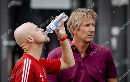 Coach Erik ten Hag (L) and general manager Edwin van der Sar during a training of Ajax in preparation for the new season at sports park de Toekomst in Amsterdam, The Netherlands, 01 August 2020.