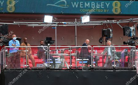 Ian Wright, Ashley Cole, Alan Shearer and Gary Lineker (2nd left to right) watch match action during the English FA Cup final between Arsenal London and Chelsea FC at Wembley stadium in London, Britain, 01 August 2020.