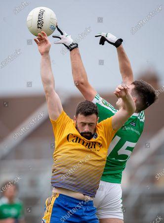 Moorefield vs Carbury. Moorefield's Evan O'Brien with Stephen McKeon of Carbury