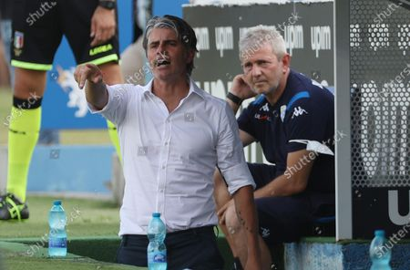 Brescia's head coach Diego Lopez (L) gestures during the Italian Serie A soccer match Brescia Calcio vs UC Sampdoria at the Mario Rigamonti stadium in Brescia, Italy, 01 August 2020.