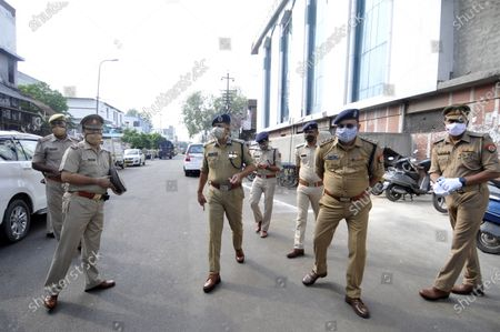 Noida police commissioner Alok Singh and other officer personnel on an inspection of the Jama Masjid during the coronavirus outbreak on the occasion of Eid-ul-Adha, at Sector 8 mosque, on August 1, 2020 in Noida, India. The holy festival of sacrifice, which falls on the 10th day of Dhu al-Hijjah as per the Islamic lunar calendar, is being celebrated today. Bakra Eid or Bakrid is marked by sacrificing an animal that is close to them to prove their devotion and love for Allah. Post the sacrifice, devotees distribute the offering to family, friends, neighbours and especially to the poor and the needy.
