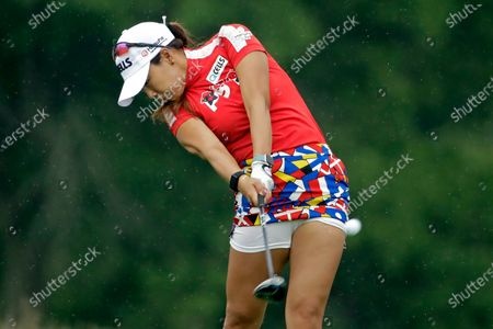 Jenny Shin, of South Korea, a hits her tee shot on the ninth hole during the second round of the LPGA Drive On Championship golf tournament at Inverness Golf Club in Toledo, Ohio