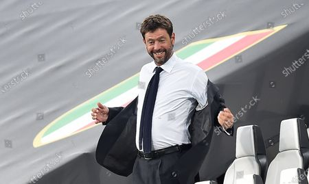 Juventus' president Andrea Agnelli on the grandstands during the Italian Serie A soccer match Juventus FC vs AS Roma at the Allianz stadium in Turin, Italy, 01 August 2020.