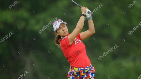 Jenny Shin follows through on her drive on the ninth hole during the second round of the LPGA Drive On Championship golf tournament at Inverness Golf Club in Toledo, Ohio
