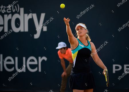 Ysaline Bonaventure of Belgium in action during the first qualifications round at the 2020 Palermo Ladies Open WTA International tennis tournament