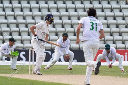 WICKET - George Balderson is caught by Colin Ackemann at slip off Chris Wright during the Bob Willis Trophy match between Lancashire County Cricket Club and Leicestershire County Cricket Club at Blackfinch New Road, Worcester