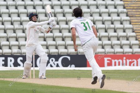 WICKET - Tom Bailey skies a short ball from Chris Wright and Ct by Tom Taylor during the Bob Willis Trophy match between Lancashire County Cricket Club and Leicestershire County Cricket Club at Blackfinch New Road, Worcester