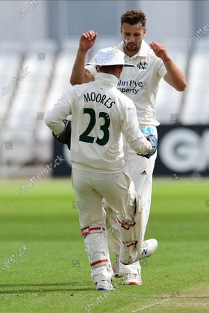 Tom Barber of Nottinghamshire celebrates taking a wicket during the Bob Willis Trophy match between Nottinghamshire County Cricket Club and Derbyshire County Cricket Club at Trent Bridge, Nottingham