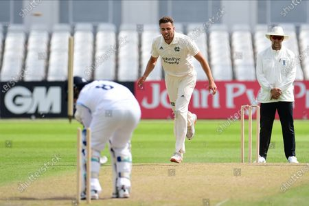 Tom Barber of Nottinghamshire demolishes the stumps of Michael Cohen during the Bob Willis Trophy match between Nottinghamshire County Cricket Club and Derbyshire County Cricket Club at Trent Bridge, Nottingham