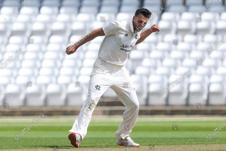 Tom Barber of Nottinghamshire CCC celebrates taking the wicket of Michael Cohen of Derbyshire CCC