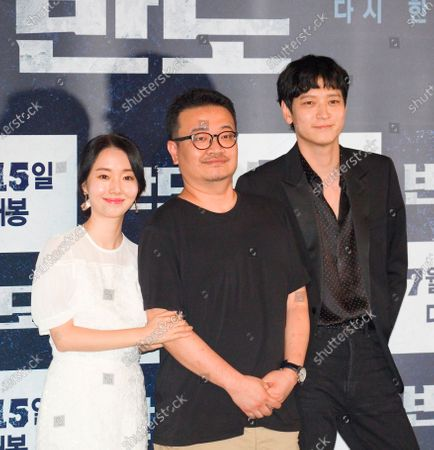 "Lee Jung-Hyun, Yeon Sang-Ho and Gang Dong-Won : (L-R) South Korean actress Lee Jung-Hyun, film director Yeon Sang-Ho and actor Gang Dong-Won pose at a press conference for movie ""Peninsula"" in Seoul, South Korea. Movie ""Peninsula"" is a sequel to 2016 zombie blockbuster ""Train to Busan"" and tells a tale of survivors on the zombie-infested Korean peninsula four years after the events in ""Train to Busan"". The film was selected for the official lineup of this year's Cannes Film Festival."
