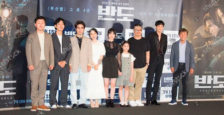 "Cast members and director of movie ""Peninsula"" : (L-R) Cast members of movie ""Peninsula"", Kim Min-Jae, Kim Do-Yoon, Koo Kyo-Hwan, Lee Jung-Hyun, Lee Re, Lee Ye-Won pose with film director Yeon Sang-Ho, actors Gang Dong-Won and Kwon Hae-Hyo after a press conference for the movie in Seoul, South Korea. Movie ""Peninsula"" is a sequel to 2016 zombie blockbuster ""Train to Busan"" and tells a tale of survivors on the zombie-infested Korean peninsula four years after the events in ""Train to Busan"". The film was selected for the official lineup of this year's Cannes Film Festival."
