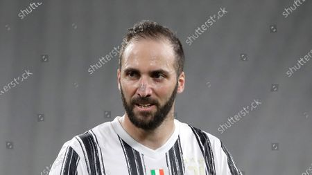 Juventus' Gonzalo Higuain looks on during a Serie A soccer match between Juventus and Roma, at the Allianz stadium in Turin, Italy, Saturday, Aug.1, 2020