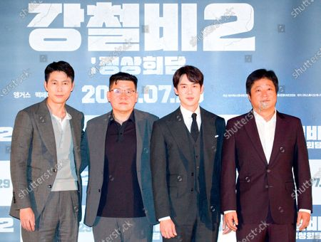 "Jung Woo-Sung, Yang Woo-Seok, Yoo Yeon-Seok and Kwak Do-Won : (L-R) South Korean actor Jung Woo-Sung, film director Yang Woo-Seok, actors Yoo Yeon-Seok and Kwak Do-Won pose at a press screening for Korean movie ""Steel Rain 2: Summit"" in Seoul, South Korea. The action adventure film dramatizes a tripartite summit in North Korea to end the Korean War and clinch a peace treaty."