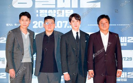 """Stock Image of Jung Woo-Sung, Yang Woo-Seok, Yoo Yeon-Seok and Kwak Do-Won : (L-R) South Korean actor Jung Woo-Sung, film director Yang Woo-Seok, actors Yoo Yeon-Seok and Kwak Do-Won pose at a press screening for Korean movie """"Steel Rain 2: Summit"""" in Seoul, South Korea. The action adventure film dramatizes a tripartite summit in North Korea to end the Korean War and clinch a peace treaty."""