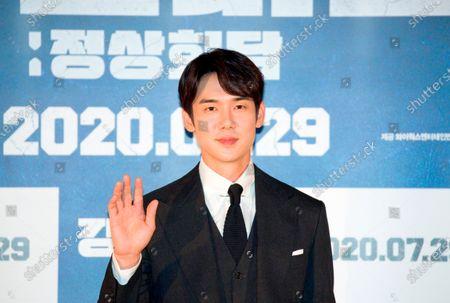 "Stock Photo of Yoo Yeon-Seok : South Korean actor Yoo Yeon-Seok attends a press conference for Korean movie ""Steel Rain 2: Summit"" in Seoul, South Korea. The action adventure film dramatizes a tripartite summit in North Korea to end the Korean War and clinch a peace treaty."