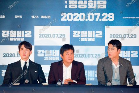 "Yoo Yeon-Seok, Kwak Do-Won and Jung Woo-Sung : (L-R) South Korean actors Yoo Yeon-Seok, Kwak Do-Won and Jung Woo-Sung attend a press conference after a press screening for Korean movie ""Steel Rain 2: Summit"" in Seoul, South Korea. The action adventure film dramatizes a tripartite summit in North Korea to end the Korean War and clinch a peace treaty."