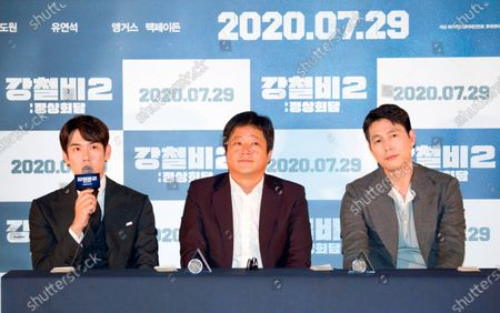 "Stock Photo of Yoo Yeon-Seok, Kwak Do-Won and Jung Woo-Sung : (L-R) South Korean actors Yoo Yeon-Seok, Kwak Do-Won and Jung Woo-Sung attend a press conference after a press screening for Korean movie ""Steel Rain 2: Summit"" in Seoul, South Korea. The action adventure film dramatizes a tripartite summit in North Korea to end the Korean War and clinch a peace treaty."