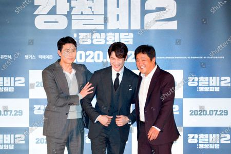 "Stock Image of Jung Woo-Sung, Yoo Yeon-Seok and Kwak Do-Won : (L-R) South Korean actors Jung Woo-Sung, Yoo Yeon-Seok and Kwak Do-Won pose at a press screening for Korean movie ""Steel Rain 2: Summit"" in Seoul, South Korea. The action adventure film dramatizes a tripartite summit in North Korea to end the Korean War and clinch a peace treaty."