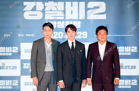 "Jung Woo-Sung, Yoo Yeon-Seok and Kwak Do-Won : (L-R) South Korean actors Jung Woo-Sung, Yoo Yeon-Seok and Kwak Do-Won pose at a press screening for Korean movie ""Steel Rain 2: Summit"" in Seoul, South Korea. The action adventure film dramatizes a tripartite summit in North Korea to end the Korean War and clinch a peace treaty."