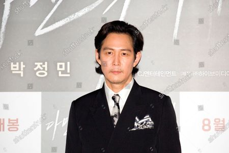 """Stock Photo of Lee Jung-Jae : South Korean actor Lee Jung-Jae attends a press conference after a press screening for Korean movie """"Deliver Us From Evil"""" in Seoul, South Korea. The action thriller's background is Japan, South Korea and Thailand."""