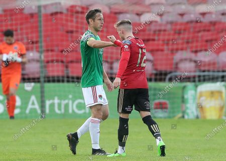 Cork City vs Bohemians. Cork City's Alan Bennett and Danny Grant of Bohemians after the game