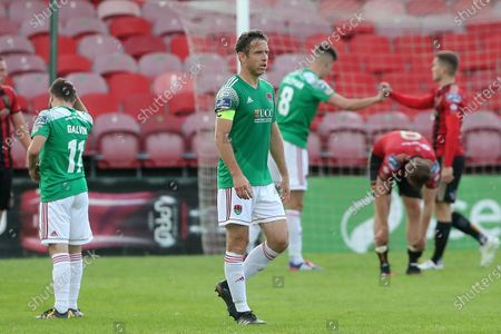 Stock Photo of Cork City vs Bohemians. Cork City's Alan Bennett dejected at the end of the game