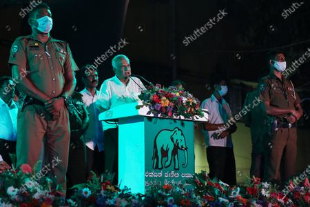 Stock Image of Leader of the United National Party (UNP) Ranil Wickremesinghe (C) speaks during the last day of the election campaign rally for the upcoming parliamentary elections in Colombo, Sri Lanka, 02 August 2020. Sri Lankan election commission has decided to hold the Parliamentary election on 05 August 2020 after it was postponed from 25 April and 20 June due to the coronavirus pandemic. A total of 7,452 candidates are contesting from recognized political parties and independent groups at this parliamentary election. While 196 will be elected as parliamentarians, the remaining 29 seats will be filled through the National List to a total of 225. The major political parties competing for these seats are the ruling Sri Lanka Podujana Peramuna (SLPP), the United National Party (UNP) and its breakaway the Samagi Jana Balawegaya.