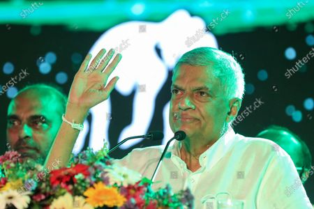Leader of the United National Party (UNP) Ranil Wickremesinghe speaks during the last day of the election campaign rally for the upcoming parliamentary elections in Colombo, Sri Lanka, 02 August 2020. Sri Lankan election commission has decided to hold the Parliamentary election on 05 August 2020 after it was postponed from 25 April and 20 June due to the coronavirus pandemic. A total of 7,452 candidates are contesting from recognized political parties and independent groups at this parliamentary election. While 196 will be elected as parliamentarians, the remaining 29 seats will be filled through the National List to a total of 225. The major political parties competing for these seats are the ruling Sri Lanka Podujana Peramuna (SLPP), the United National Party (UNP) and its breakaway the Samagi Jana Balawegaya.