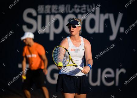Ysaline Bonaventure of Belgium in action during the second qualifications round at the 2020 Palermo Ladies Open WTA International tennis tournament