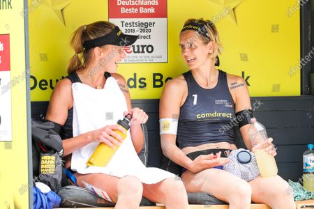 Stock Picture of Margareta Kusia Kozuch and Laura Ludwig; comdirect beach tour 2020 - Duesseldorf 3, 01.08.2020 am 01.08.2020 im Arena Sportpark in Duesseldorf