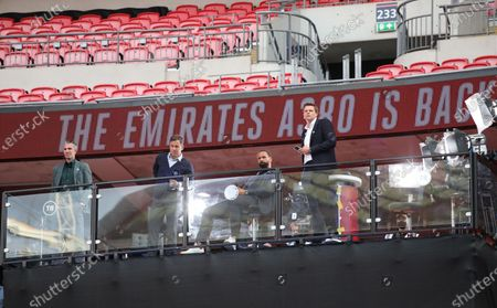 Robin van Persie, Joe Cole, Rio Ferdinand and Jake Humphrey, working for BT Sport, at the Emirates FA Cup Final match Arsenal v Chelsea, at Wembley Stadium, London, UK on 1st August, 2020.The match is being played behind closed doors because of the current COVID-19 Coronavirus pandemic, and government social distancing/lockdown restrictions.