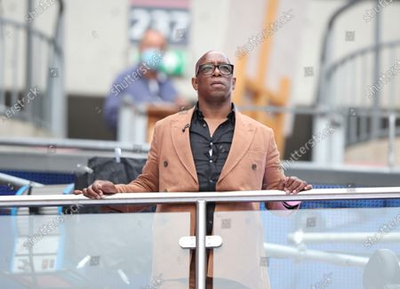 Ian Wright, working for BBC Match of The Day at the Emirates FA Cup Final match Arsenal v Chelsea, at Wembley Stadium, London, UK on 1st August, 2020.The match is being played behind closed doors because of the current COVID-19 Coronavirus pandemic, and government social distancing/lockdown restrictions.
