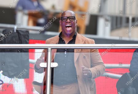 Former Arsenal player Ian Wright celebrates as Pierre-Patrick Aubameyang scores the Arsenal equaliser (1-1) at the Emirates FA Cup Final match Arsenal v Chelsea, at Wembley Stadium, London, UK on 1st August, 2020.The match is being played behind closed doors because of the current COVID-19 Coronavirus pandemic, and government social distancing/lockdown restrictions.