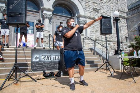 """Frank Manzano, co-founder of the central Pennsylvania based anti-racist collective """"If Not Us, Then Who?"""" addresses the crowd of about 200 at a Black Lives Matter protest. The event at Williamsport City Hall was co-sponsored by """"If Not Us, Then Who?"""" and the Lycoming Tri-County NAACP."""