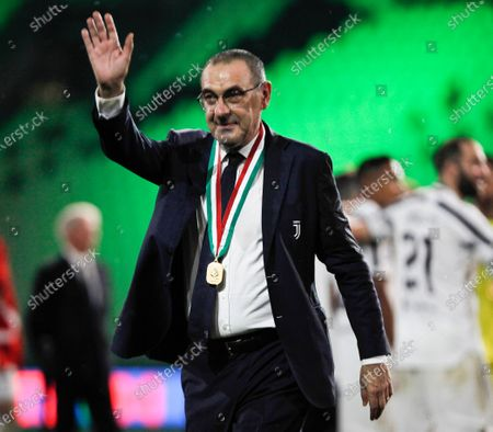 Juventus FC coach Maurizio Sarri celebrates after winning the Serie A Championship